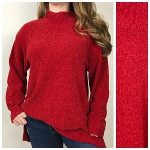 SAG HARBOR Red Cozy Chenille Mock Neck Sweater XL